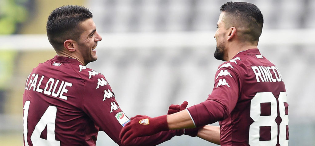 Torino's Iago Falque, left, celebrates with his teammate Thomas Rincon after scoring during the Serie A soccer match between Torino and Bologna  at the Olympic Stadium in Turin, Italy, Saturday, Jan. 6, 2018 (Alessandro Di Marco/ANSA via AP) Italy Soccer Serie A